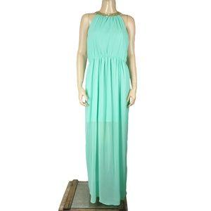 Dainty Hooligan Teal Blue Sequin Draped Maxi Dress